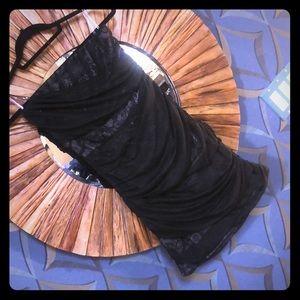 Ruched mini dress w pattern sheer black Macy's